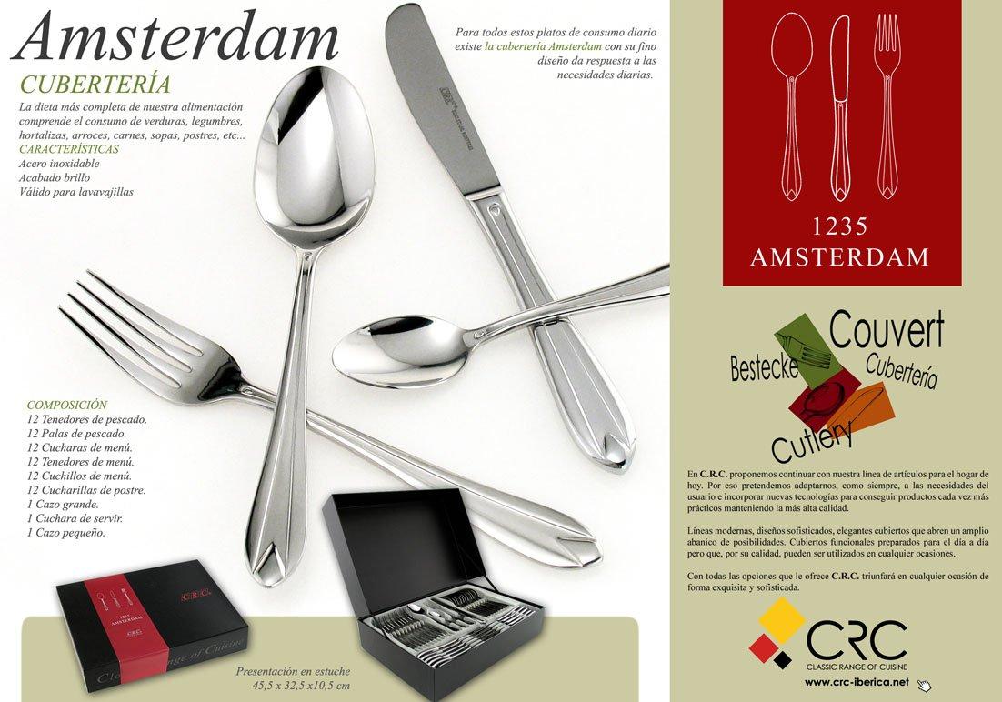 FranquiHOgar AMSTERDAM, Cubertería 75 piezas en estuche regalo + JUEGO DE CAFÉ DE REGALO: Amazon.es: Hogar