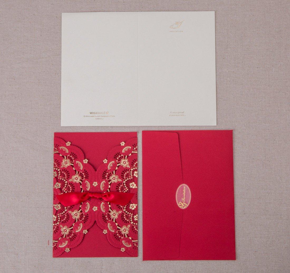 Amazon.com: Wishmade Wedding Invitation Cards Laser Cut 20pcs Red ...