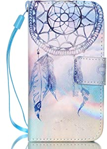 JanCalm iPhone 4S Case,iPhone 4 Case, [Wrist Strap Design][Kickstand] Pattern Premium PU Leather Wallet [Card/Cash Slots] Flip Cover for iPhone 4/4SIncluding-ONE Crystal Pen (Aeolian Bells)