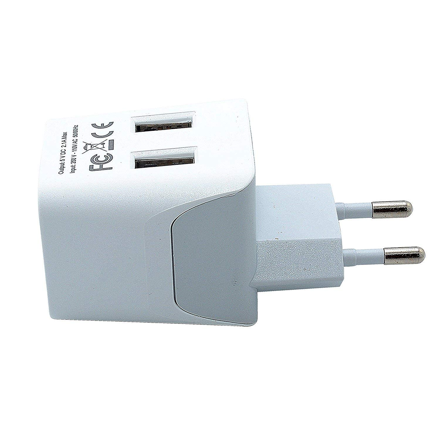 Ceptics CTU-9C USA to Most of Europe Travel Adapter Plug With Dual USB - Type C - Ultra Compact
