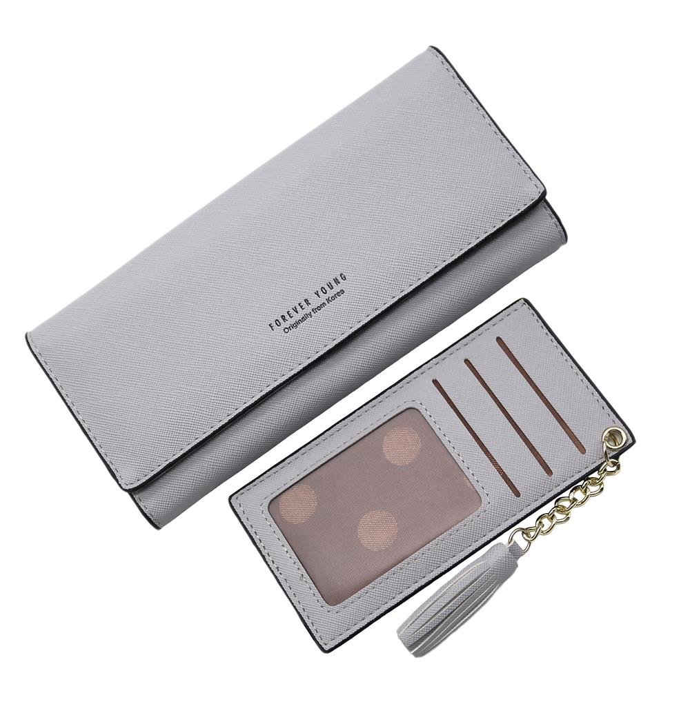 Wallets for Women, Slim Clutch Long Leather Purse Lady Checkbook Credit Card Holder with a Removable Card Slot (A-Gray) by Aiyo Fashion (Image #1)