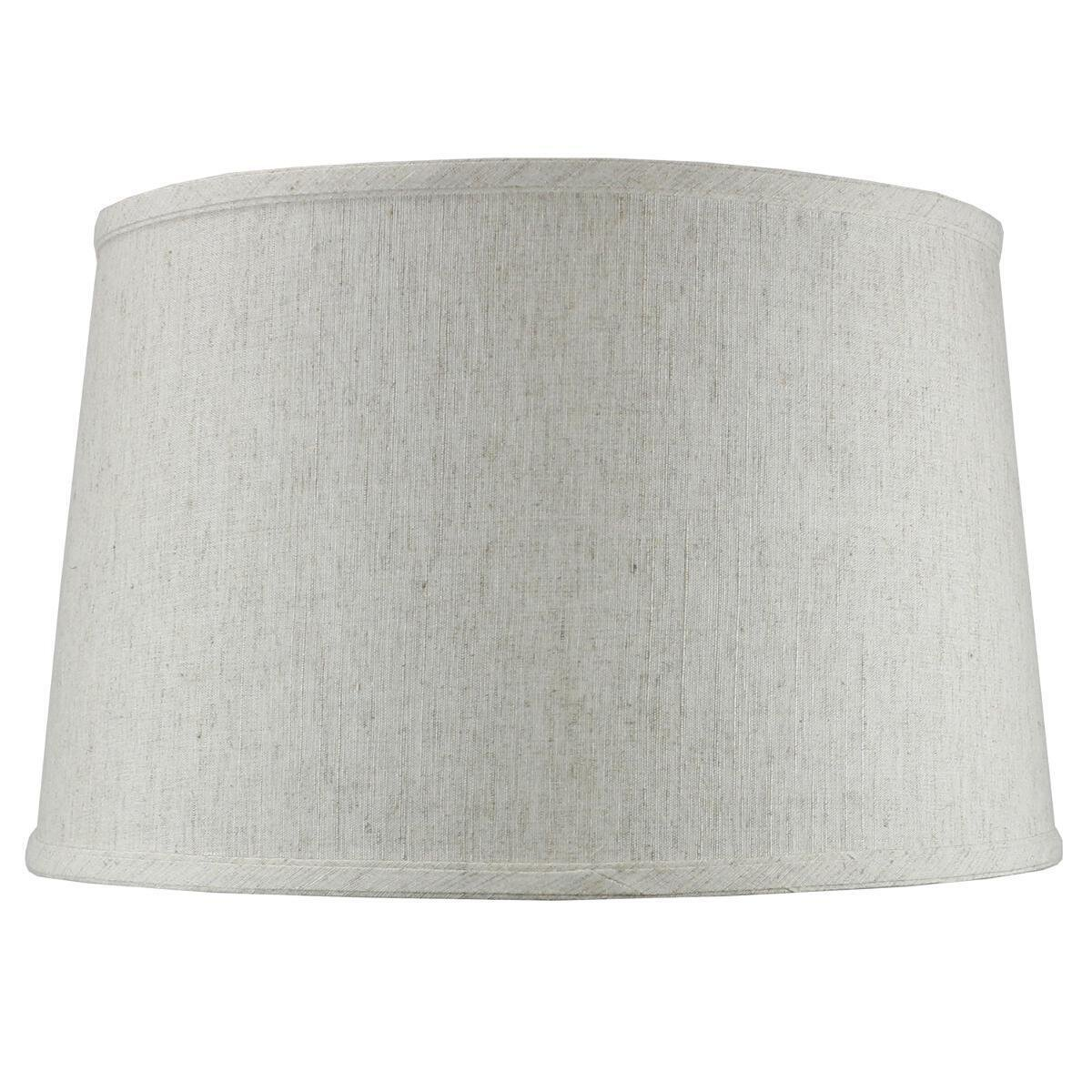 14x16x10 Shallow Drum Hard Back Textured Oatmeal Lampshade with Brass Spider fitter By Home Concept - Perfect for table and Desk lamps - Large, Off-white