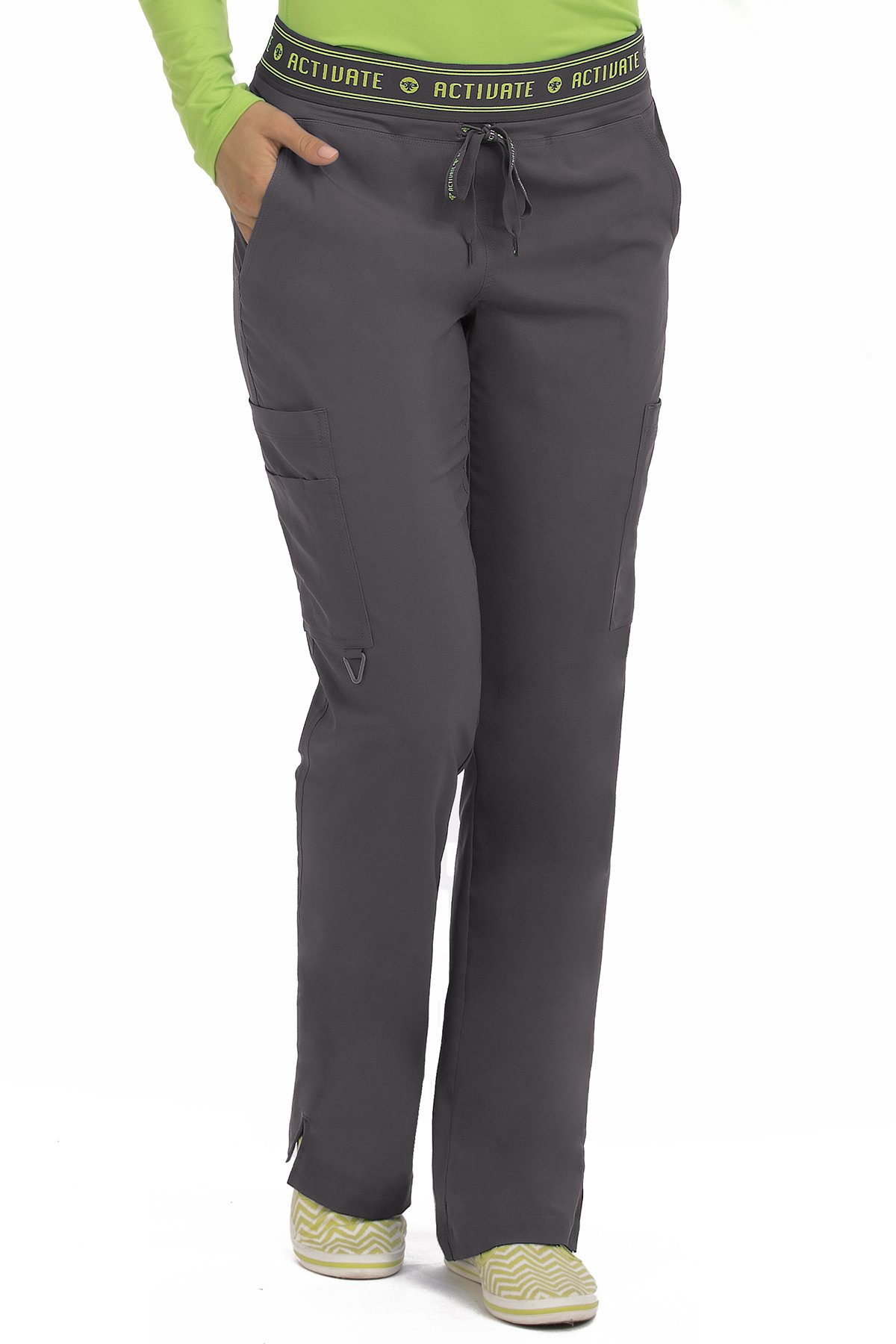 Med Couture Women's 'Activate' Flow Yoga Cargo Scrub Pant, Pewter, Small