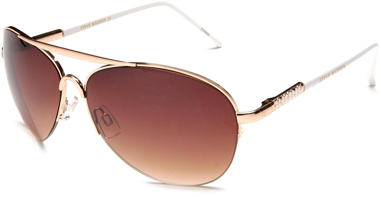 27c64d33a1b Steve Madden Women s S5132 GLDWH Aviator Sunglasses