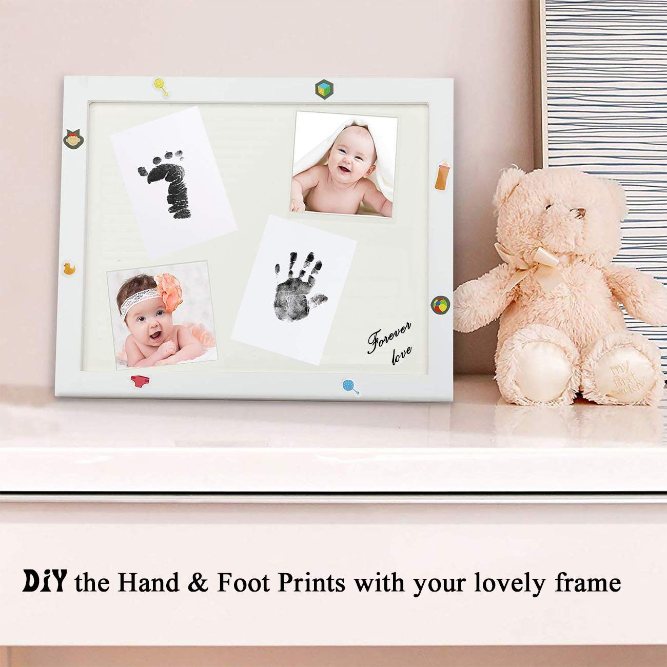 negro Nopson Baby Inkless Pad para huellas de beb/é Hand prints and Fingerprints Kit con 4 tarjetas de impresi/ón extra Perfect Keep Baby Memory Baby Shower Gift