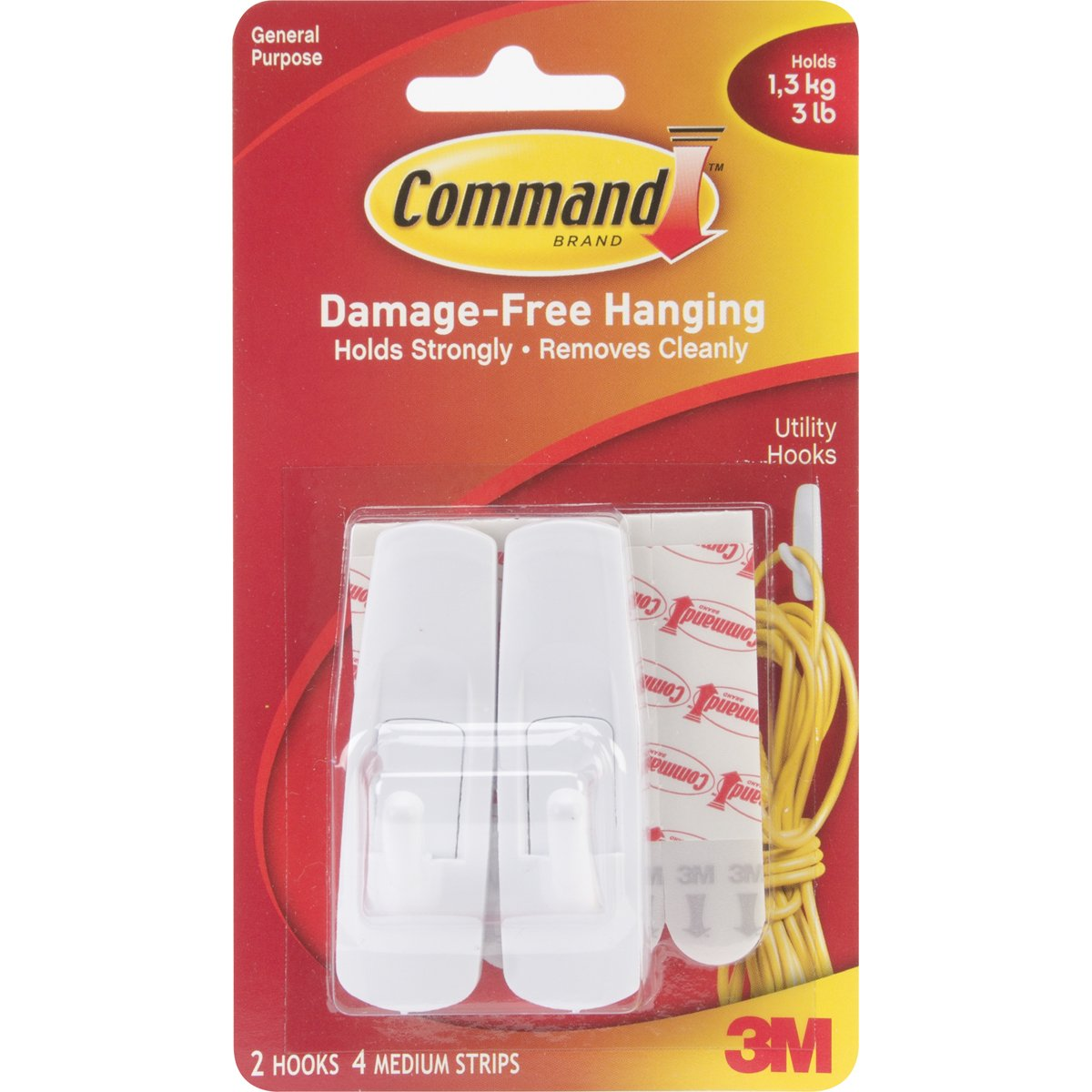 Command Utility Hooks Value Pack, Medium, White, 6-Hooks (17001-6ES) 3M 17001-VP-6PK