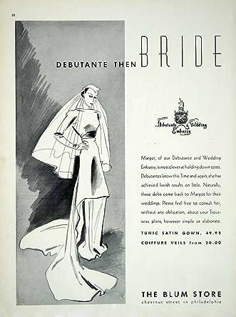 Amazon.com: 1936 Ad Vintage Wedding Dress Veil Bride Blum Store ...