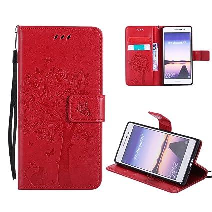 OuDu Funda Huawei P7 Carcasa de Billetera Funda PU Cuero para Huawei P7 Carcasa Suave Protector - Rojo