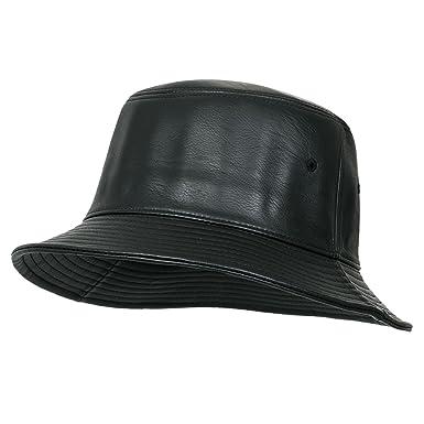 a4ac0d692746b ililily Black Soft Faux Leather Round Top Fedora Vintage Flat Bucket ...
