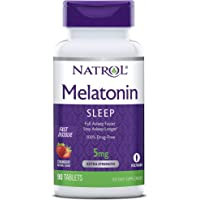 Natrol Melatonin Time Release Tablets, Helps You Fall Asleep Faster, Stay Asleep Longer, Faster Absorption, 100% Vegetarian, Extra Strength 5mg, 100 Count