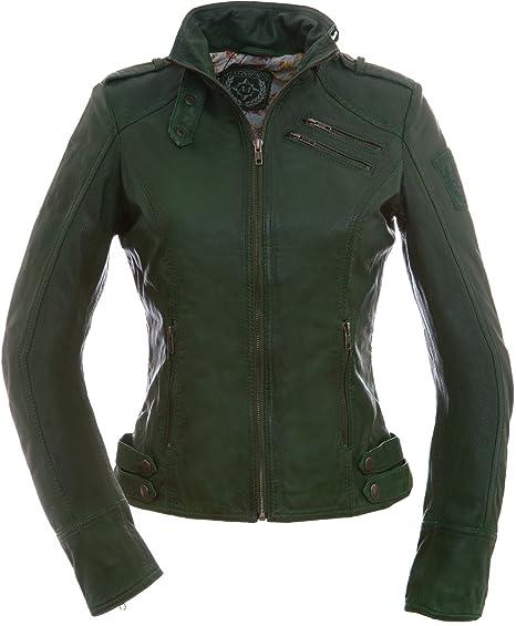 Ladies Leather Jacket Valery In Dark Green Amazon Co Uk Clothing