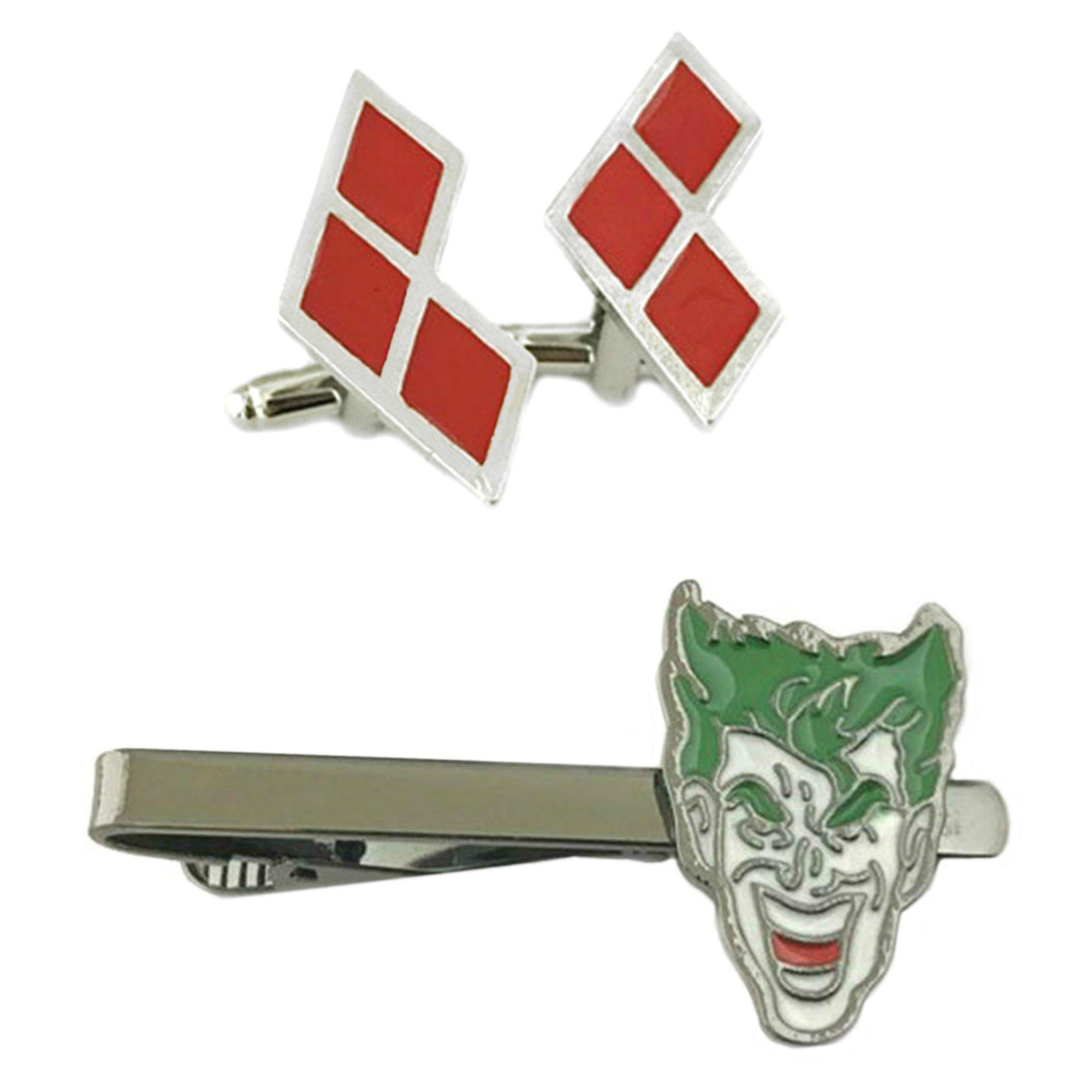 Outlander DC Comics - Harley Quinn Diamond Cufflink & Joker Tiebar - Set of 2 Wedding Superhero Logo w/Gift Box