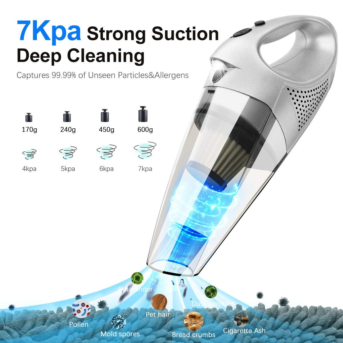 Handheld Vacuum Cleaner Cordless 7kpa Powerful Suction Mini Car Vacuum Cleaner with Stainless Steel HEPA Filter,LED Light,Rechargeable Wet Dry Hand Vac for Home Pet Hair Car Cleaning