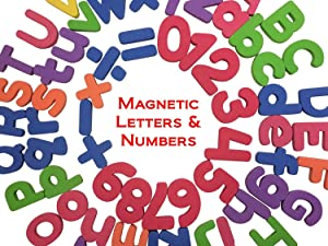 THICKER Magnetic Letters and Numbers- Alphabet Number Fridge Magnet - 26 Upper Case ABC, 26 Lower Case abc, Numbers 123, Arithmetic Piece -Total 67 Letter Kid Education Fun Toy Set Symbol Learning #1