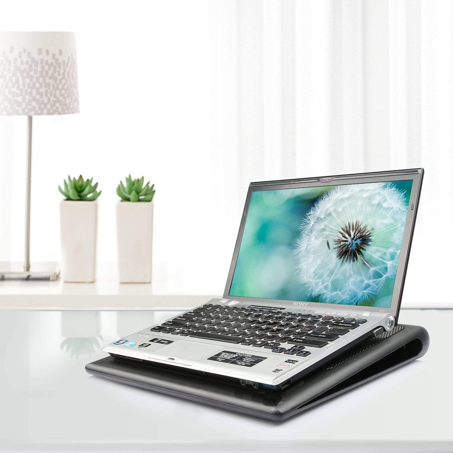 Fits 12-16 Inches DISS Laptop Cooling Pad Portable Ultra-Slim Quiet Laptop Notebook Cooler Cooling Pad Stand with 2 USB Powered Fans