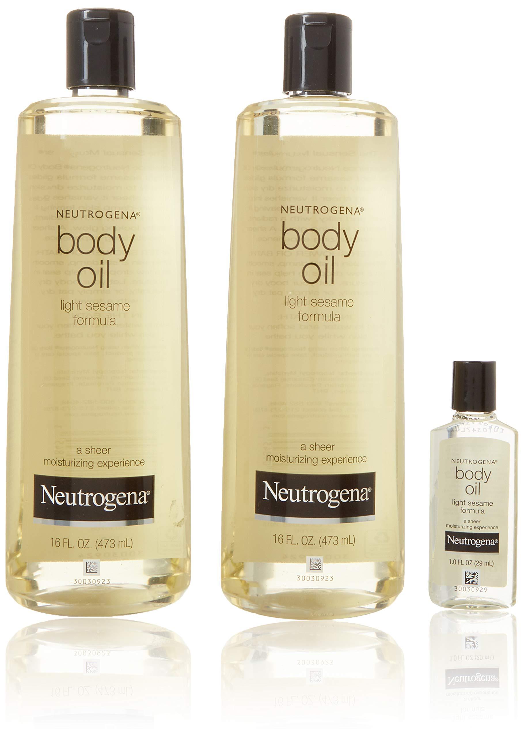 2 Pack of Neutrogena Body Oil Light Sesame Formula, 2-16 fl. oz bottles, Total of 32 fl. oz. by Neutrogena