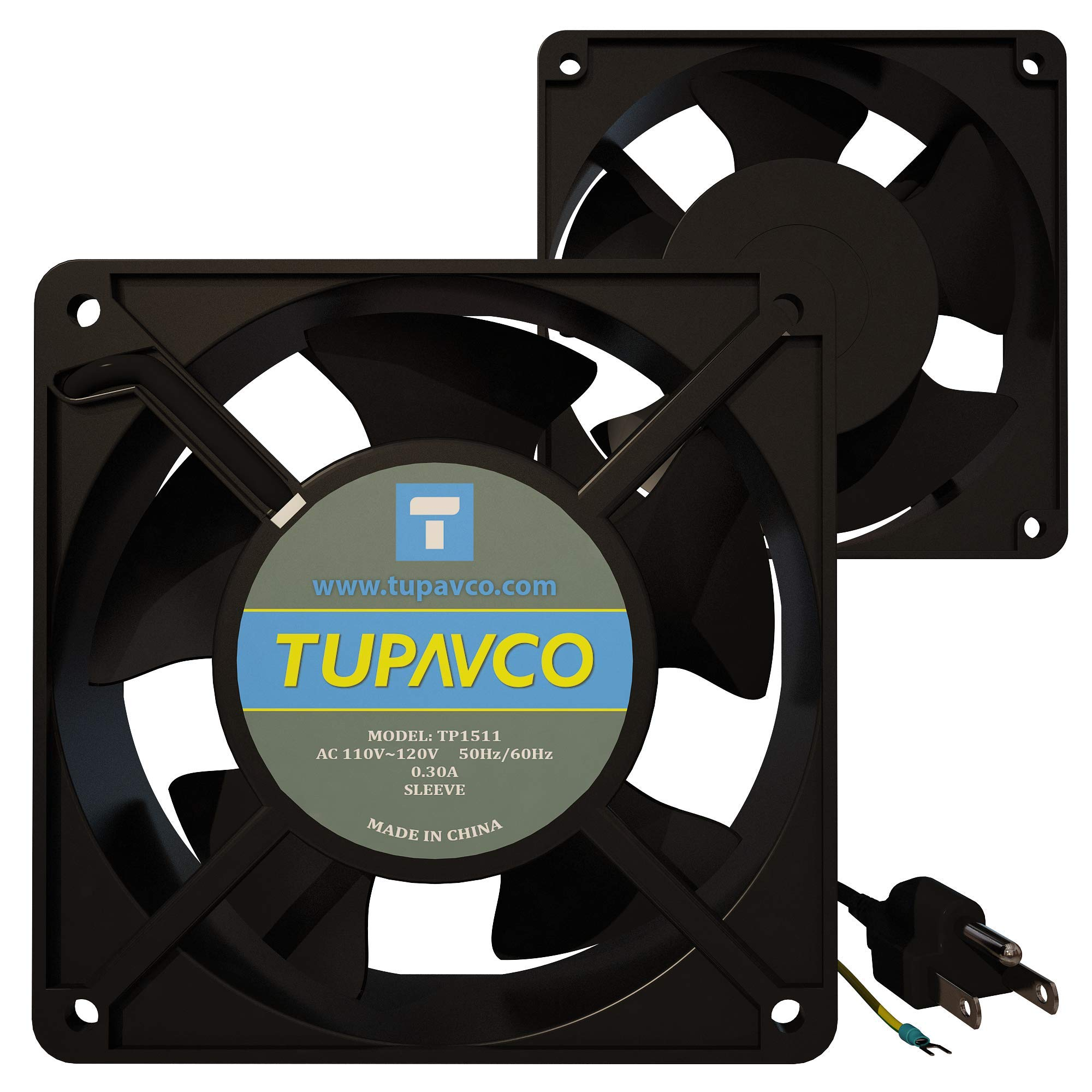 Network Cabinet Fan -Dual 2pc Kit for Server Rack Cooling -Pair of Roof Rackmount Muffin Fans 120mm 4in Steel Frame Quiet Ventilation with 110V AC/Ground Cable for Computer Equipment-Tupavco TP1511