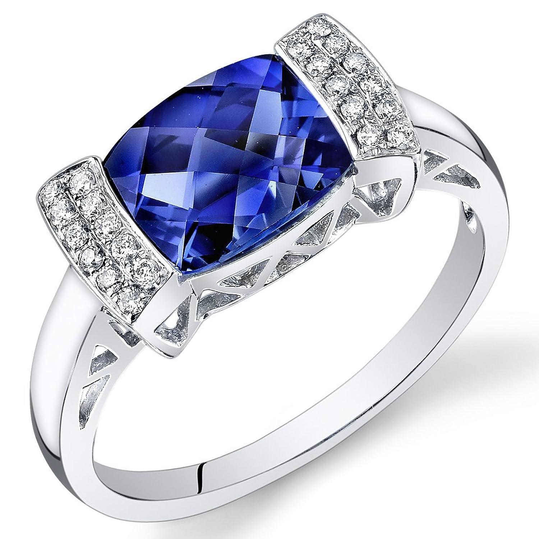 Peora 14K White Gold Cushion Created Blue Sapphire Diamond Ring (2.61 cttw)