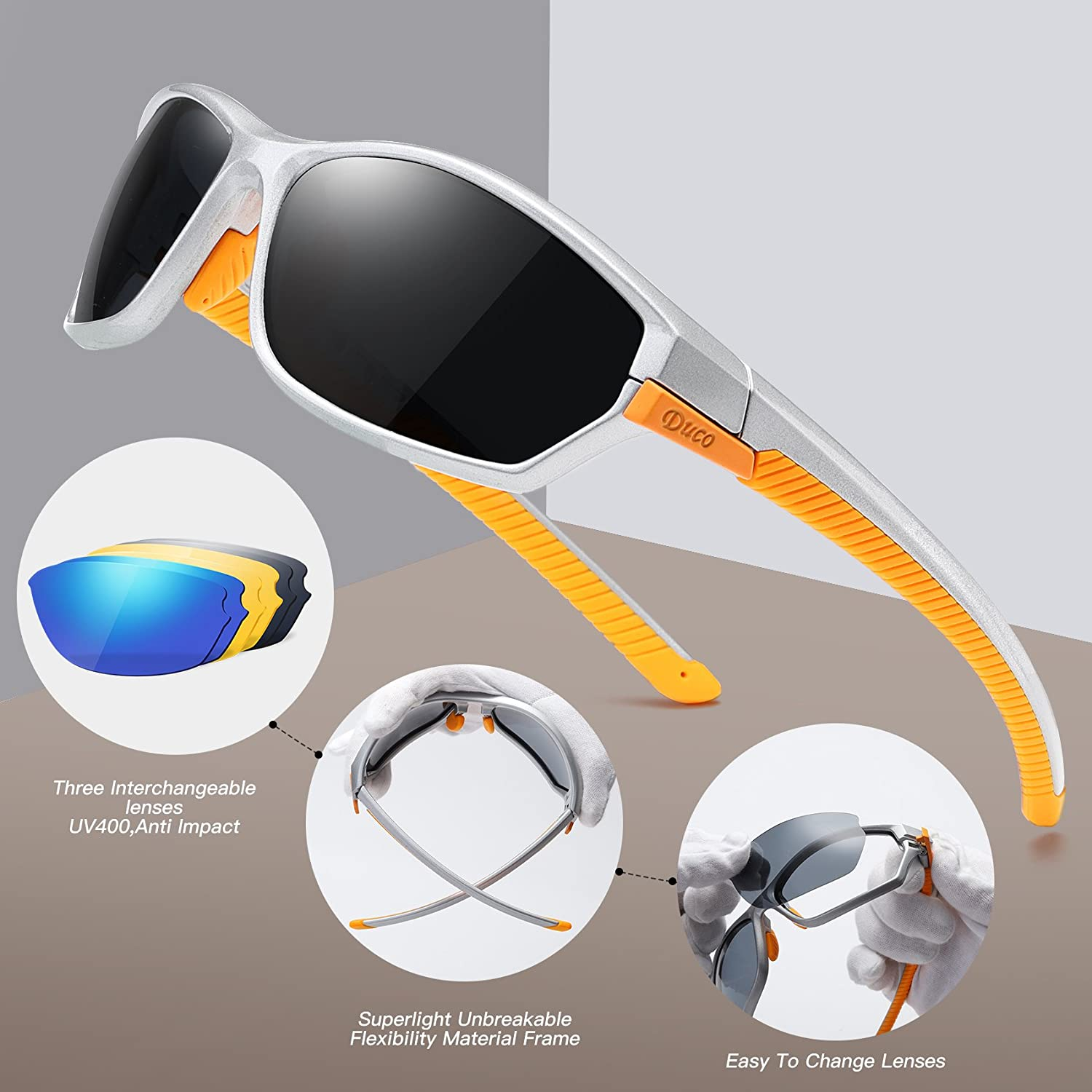 836534e5ea DUCO Polarised Sports Mens Sunglasses for Ski Driving Golf Running Cycling  TR90 Super Light Frame with