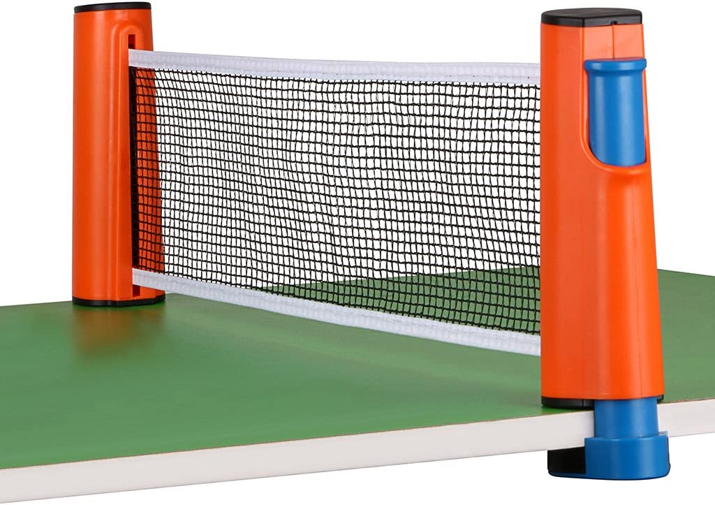 red retractil para ping pong ajustable hasta 1.8mts naranja