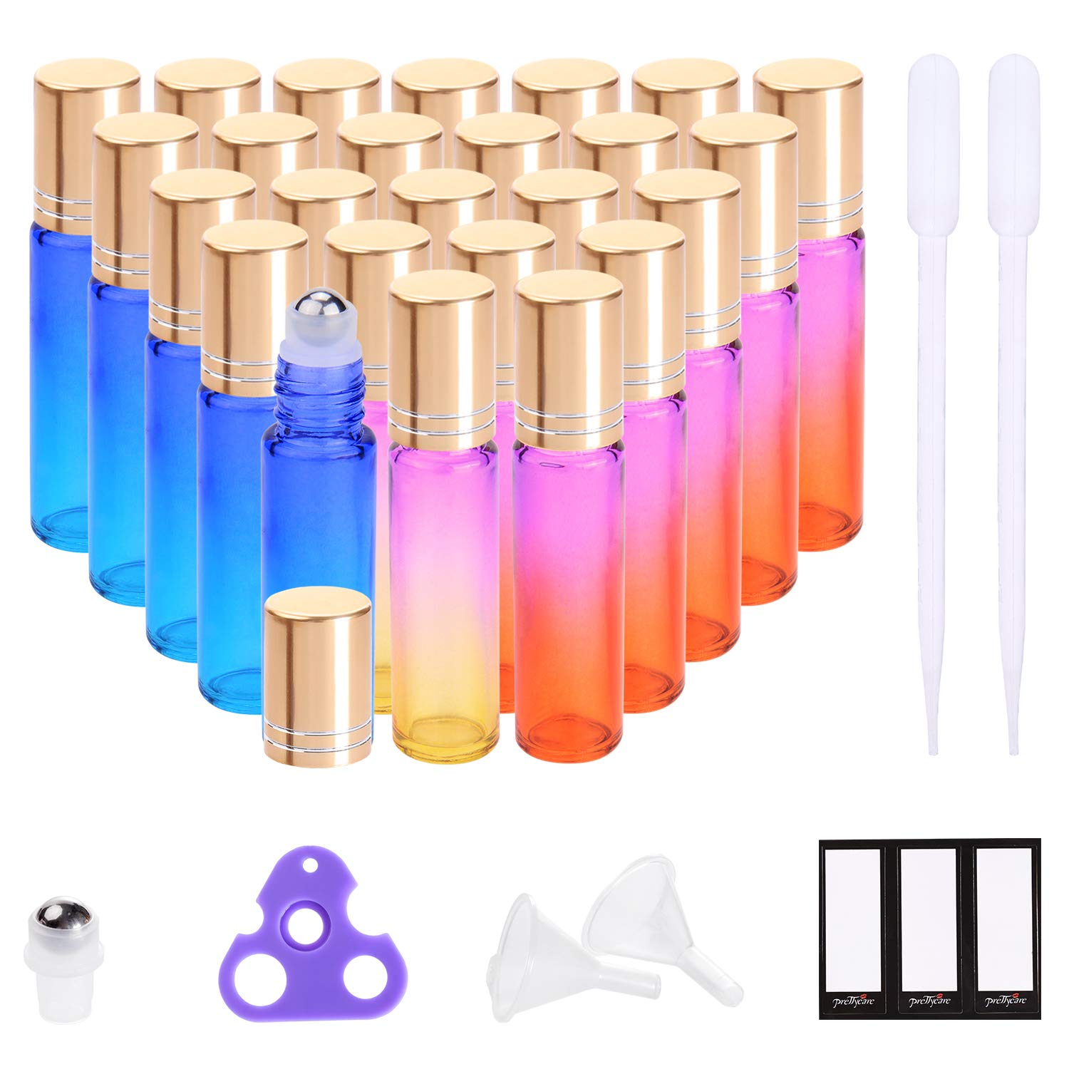 f291641e7626 Essential Oil Roller Bottles 10ml (Rainbow Glass with Golden Caps, 24 Pack,  4 Extra Stainless Steel Roller Balls, 48 Labels, 2 Openers, 2 Funnels by ...