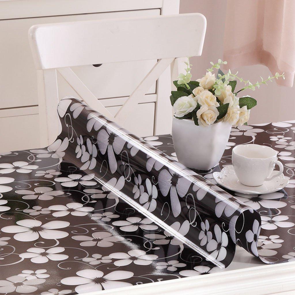 Küchenwäsche PVC Tischdecke, Weißhe Glas Tischmatten Wasserdichte Kristallplatte Kaffeetisch Tuch Tischdecke 1.2MM ( Farbe   A , größe   90150CM ) D 100100CM