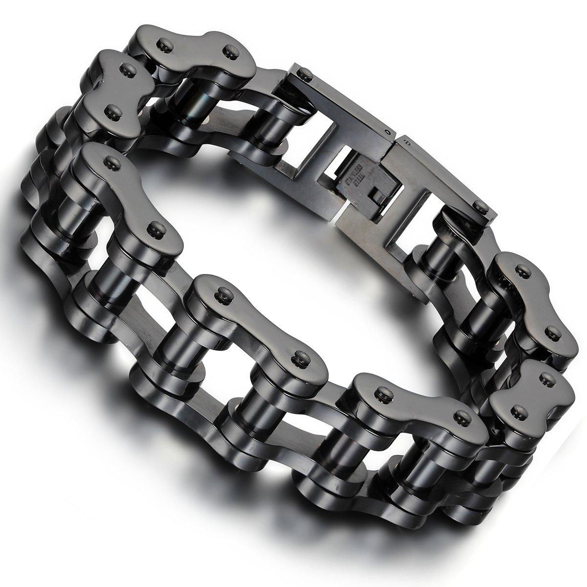 Flongo Men's Biker 18mm Wide Stainless Steel Heavy Motorcycle Chain Bicycle Link Bracelet, 9.13 inch FLG01045