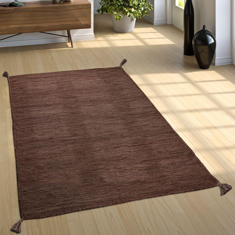 Paco Home Designer Teppich Webteppich Kelim Handgewebt 100% Baumwolle Modern Meliert Braun, Grösse 200x290 cm