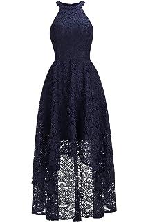 MisShow Floral Lace Tea Length Bridesmaid Dress Retro Cocktail Party Gowns