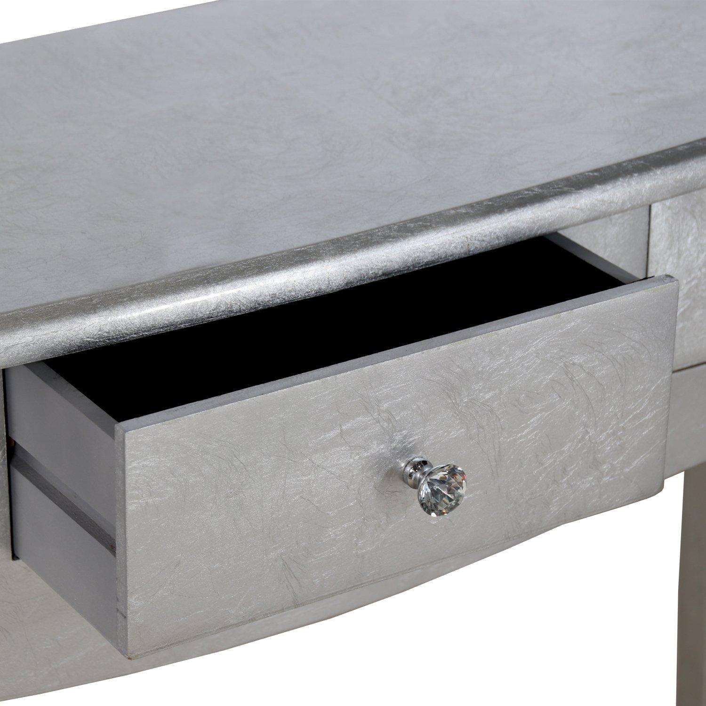 Muebles Alfafar Mesa de Entrada Consola de 3 Cajones, Madera, Plata, 33x80x105 cm
