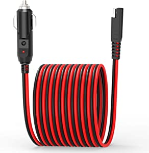 Extractme 10FT Cigarette Lighter SAE Battery Charger Cable, 14AWG 12V Cigarette Lighter Plug to SAE Quick Release Adapter Extension Charging Cable with Fuse and LED Light