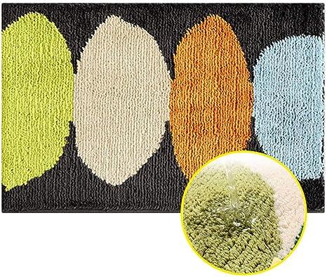 Alfombra de baño Decorativo Moquetas, Stillshine Absorbente Antideslizante Interior Lavable a máquina Super Suave Felpudos Flocado Dormitorio (80 * 120cm,Limón - Gris Oscuro): Amazon.es: Hogar