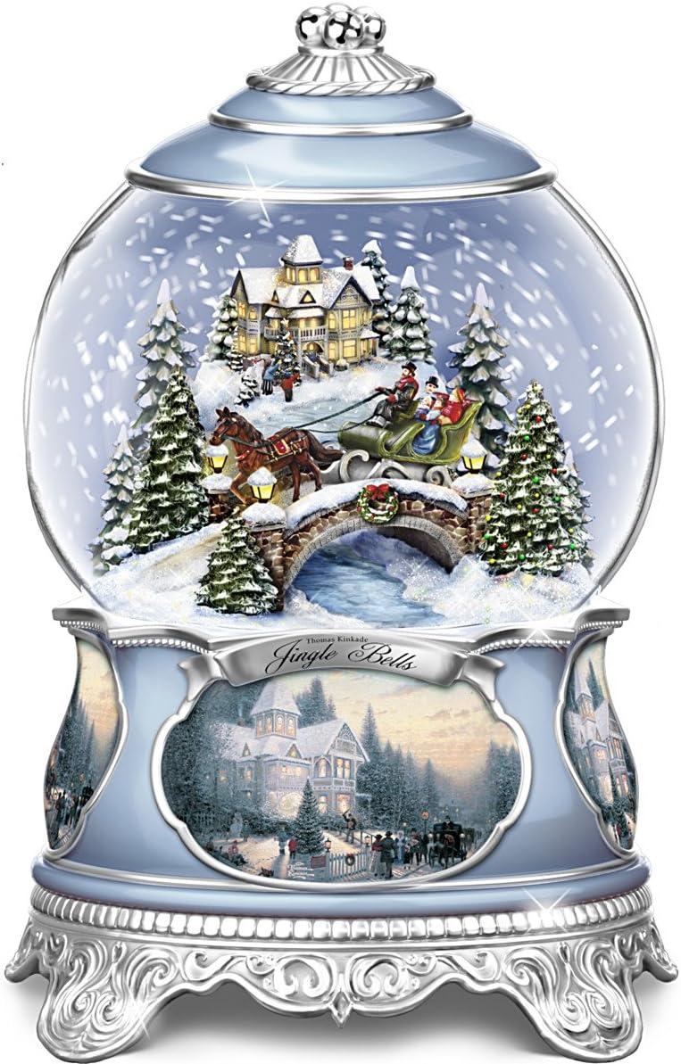 The Bradford Exchange Thomas Kinkade Jingle Bells Christmas Musical Snowglobe