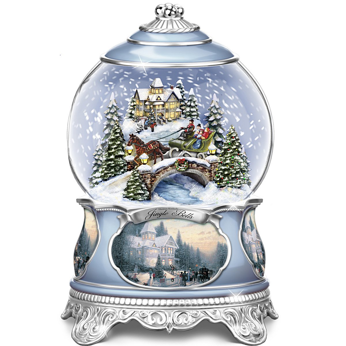 Bradford Exchange Thomas Kinkade Jingle Bells Christmas Musical Snowglobe by The