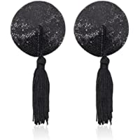 Amiciyah Sequins Circular Nipple Pasties &Small Feathers Stick Teasing Stick For Role Play Toy Tassel Pasties Bra Lingerie(Black)