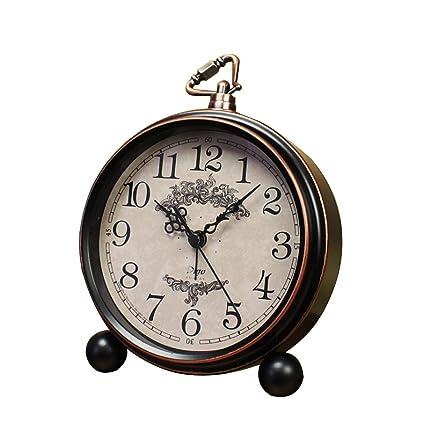 Reloj despertador de mesa vintage europeo Personalidad Reloj de escritorio silencioso nostálgico Reloj despertador de cama