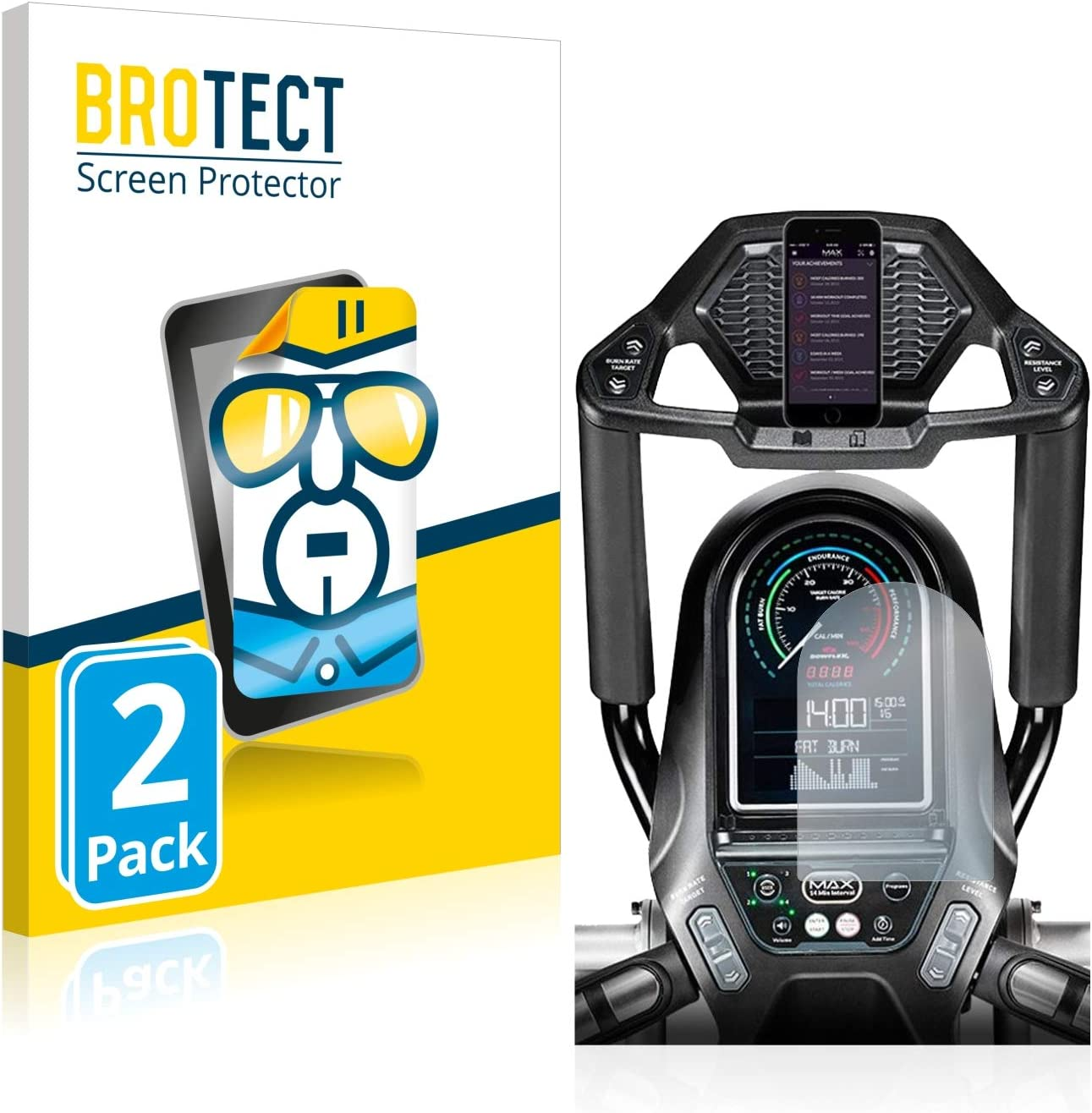 Dirt-Repellent Crystal-Clear Hard-Coated 2X BROTECT HD-Clear Screen Protector for Bowflex Max Trainer M7