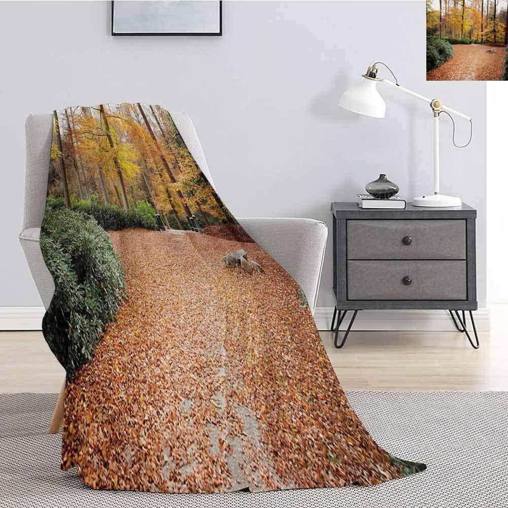 Luoiaax Nature Children's Blanket Autumn Forest with Deciduous Trees Fall Leaves in Faded Eco Image Lightweight Soft Warm and Comfortable W57 x L74 Inch Marigold Amber Hunter Green