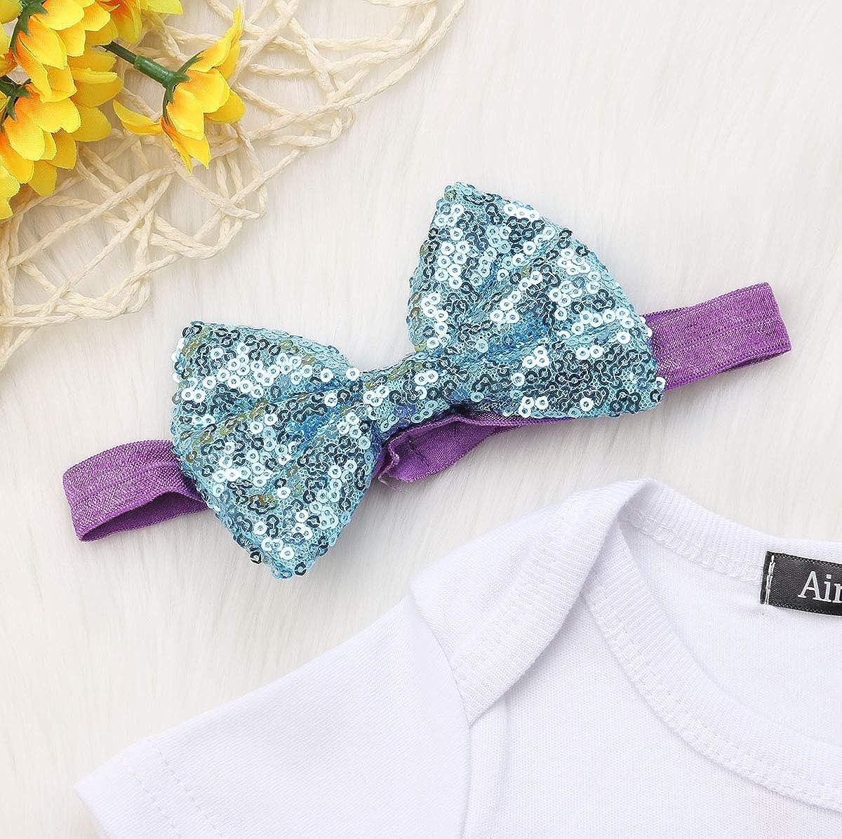 Urkutoba Baby Girl 1st Birthday Photography Dress Shell Snowflake Crown Pattern Romper+Lace Tutu Dress+Sequins Headband
