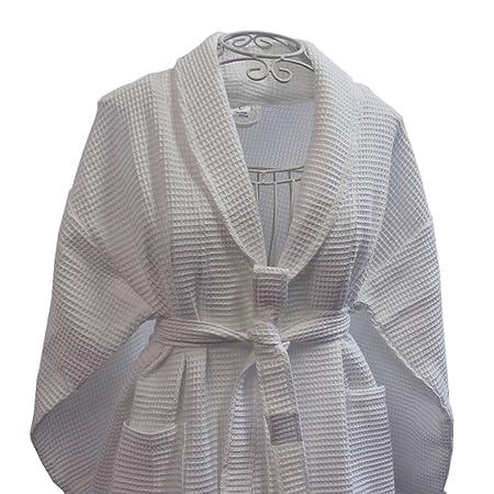 aa8364a224 Homescapes L Classic Cotton Waffle Kimono Bathrobe with Shawl Collar for  Men and Women White