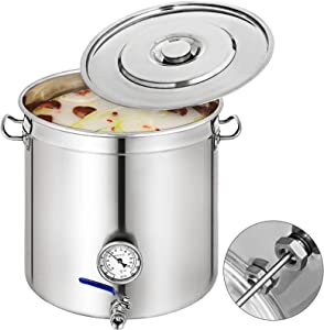 VEVOR 18.5Gal 74Quart Brew Kettle, Stainless Steel Stock Pot with Thermometer & Ball Valve, Home Cooware Pot for Brewing Cooking and Boiling