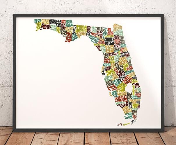 Map Florida City Names.Amazon Com Florida Map Art Print Typography Map Art State Map