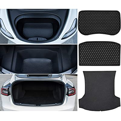 Bonbo Trunk Mat Cargo Liner for Tesla Model 3 2020-2020 Front & Rear Custom Fit Liner Mats All Weather Guard Eco-Friendly Heavy Duty Rubber Odorless(Pack of 3): Automotive