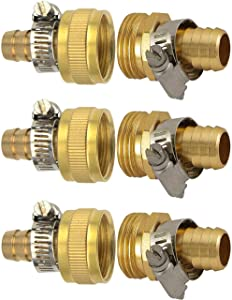 "HZFJ 3Sets 3/4"" Drip Irrigation Tubing to Faucet/Garden Hose Adapter - Reusable Connector Fittings for Most Rain Bird, Orbit, Dig, Toro 5/8 or 3/4 Tubing x 3/4"" GHT Garden Hose Repair kit"