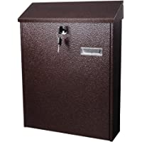 Yescom Wall Mounted Steel Mail Box Lockable Letterbox with Retrieval Door 2 Keys Home Office Post Security