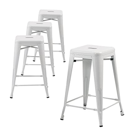 Amazoncom Buschman Set Of Four White 30 Inches Counter Height