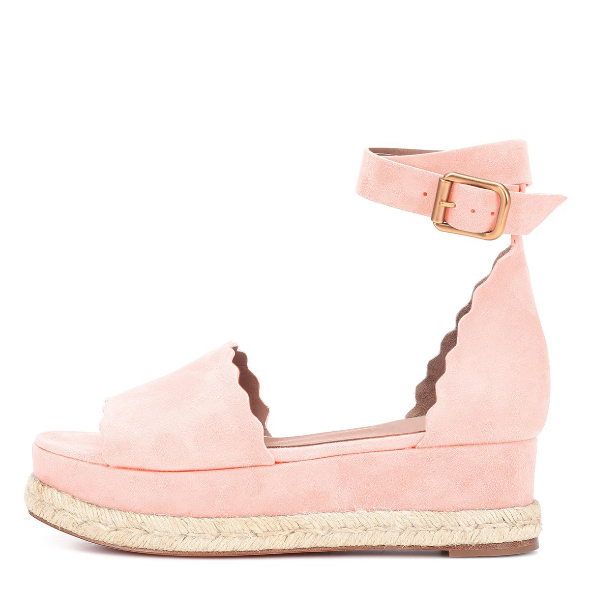YDN Women Straps Espadrille Peep Toe Ankle Straps Women Wedge Sandals Low Heels Platform Shoes with Buckle B07G2FFRP4 5 M US|Pink c29f92