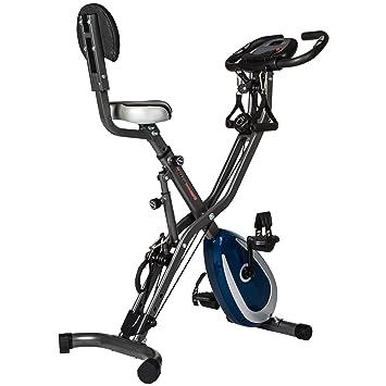 Ultrasport F-Bike 400BS Bicicleta estática plegable con respaldo, tracción, pantalla y app, Gris Oscuro/Azul Marino, 81 x 43 x 113 cm: Amazon.es: Deportes y ...