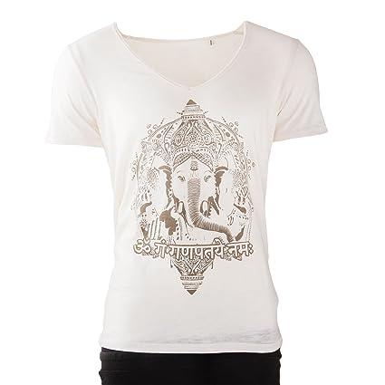 Bodhi Yoga Camiseta Hombres, Blanco, Ganesha, 100% de ...