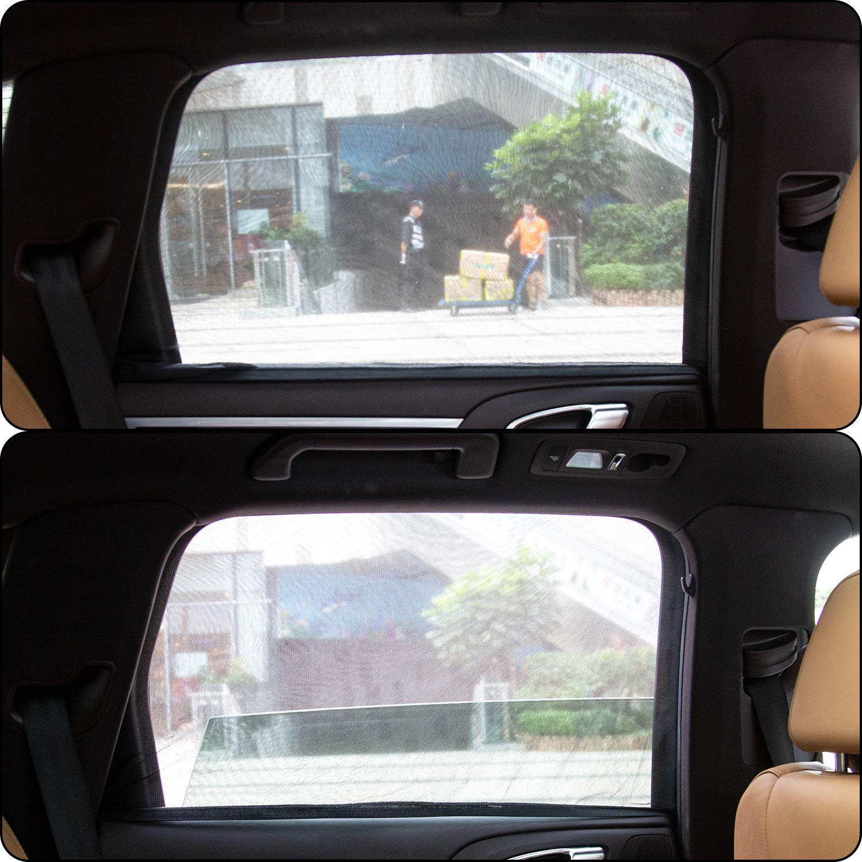 4 Piezas AIEX Sombra de Coche de la Ventana del Coche de Sombra de Malla Transpirable para la protecci/ón UV de Camping de Coches Must-Have Universal Fits para la mayor/ía de los Autos